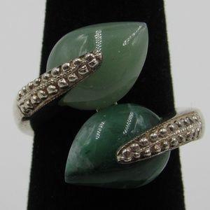 Vintage Size 6 Sterling Floral Jadeite Ring